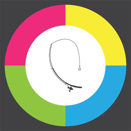 spinning: Fishing rod vector icon.  Fisherman equipment sign.