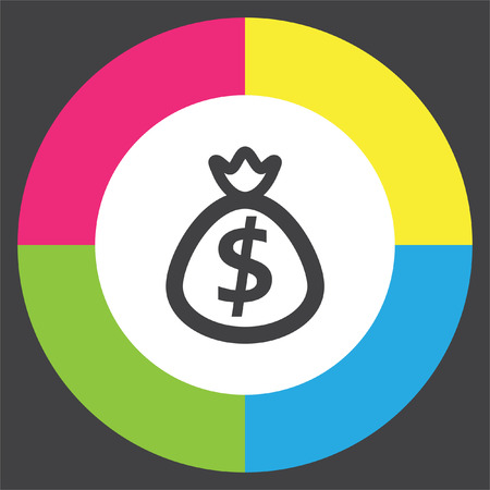 moneybag: Bag with Money vector icon. Dollar currency sign. Banking or investments symbol.