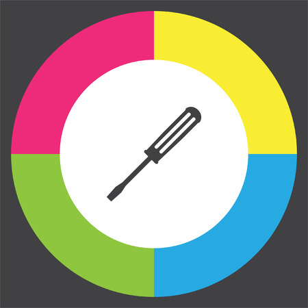 toolkit: Screwdriver vector icon. Working equipment sign. Construction toolkit symbol