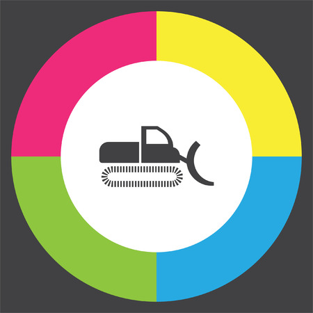 Dredge symbol vector icon. Bagger sign. Construction vehicle symbol