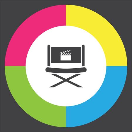 director chair: Cinema Director Chair vector icon. Movie director seat. Video symbol. Illustration