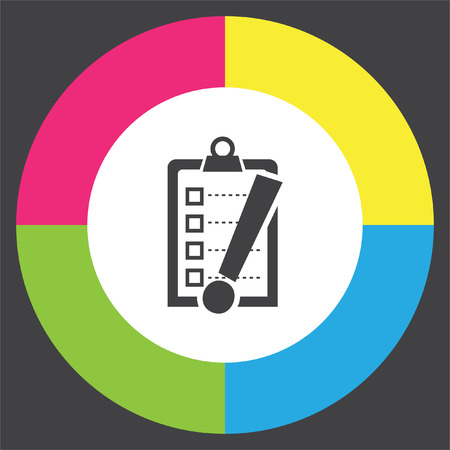 Check list with exclamation mark vector icon. Clip board with exclamation mark symbol. Illustration