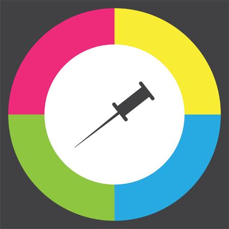 Pushpin vector icon. Needle sign. Bulletin board note symbol