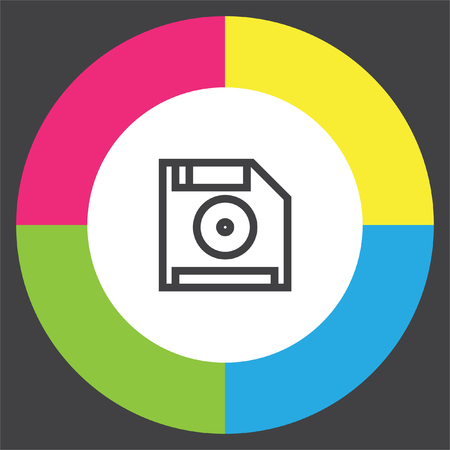 data archiving: Save symbol line vector icon. Computer diskette sign. Floppy disk symbol. Retro data storage pictograph.