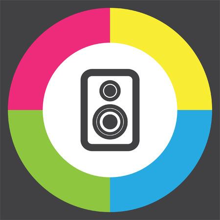 Speaker vector icon. Audio sign. UI control sound symbol. Music pictograph. Illustration