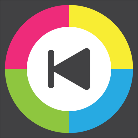 fast backward next track button vector icon. Change song sign. Rewind symbol