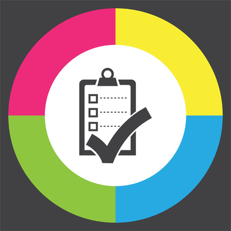 Check list with ok sign vector icon. Clip board with ok sign.