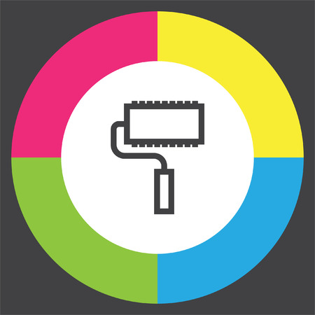 roller brush: Paint roller sign line vector icon. Paintbrush tool sign. Color symbol icon.