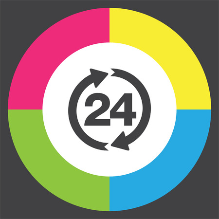 Open 24 hours vector icon. Non stop working shop or service symbol. All day working time sign.