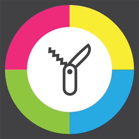 knive: Swiss knife line vector icon. Jackknife symbol. Multi tool knife sign. Multi function tool icon. Hiking equipment pictograph.