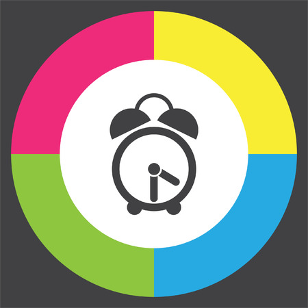 Analog alarm clock vector icon. Watch with bell symbol. Time sign. Ilustrace