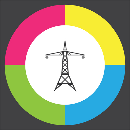 electrical tower: Power line vector icon. Electric tower sign. High electricity transmission symbol