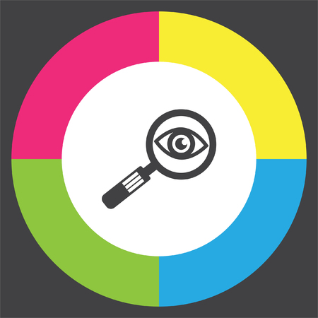 magnification icon: Magnifying glass with eye vector icon. Search sign. Zoom symbol. Find pictograph