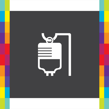 iv: IV bag medical vector icon. Infusion sign