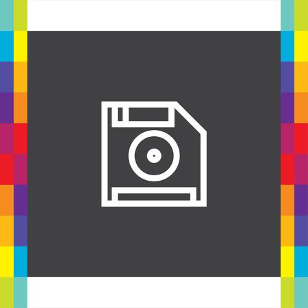 floppy drive: Save symbol line vector icon. Computer diskette sign. Floppy disk symbol. Retro data storage pictograph.