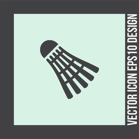 leisure game: Badminton vector icon. Leisure game ball symbol. Sport competition sign. Illustration