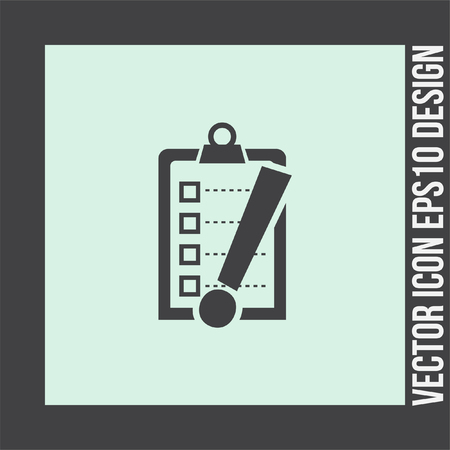 clip board: Check list with exclamation mark vector icon. Clip board with exclamation mark symbol. Illustration