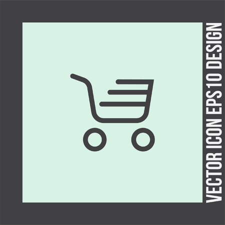 shopping chart: Shopping chart line vector icon. On line shop symbol.