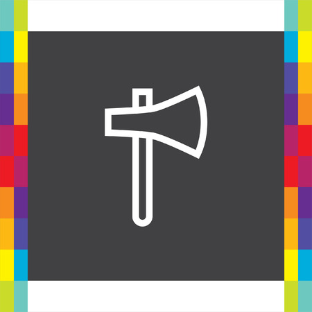 Axe sign line vector icon. hatchet sign line icon. Illustration