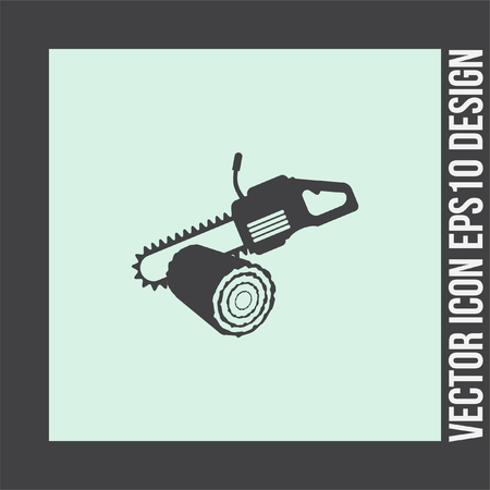 chainsaw: Chainsaw with stump vector icon. Timber industry symbol. Illustration