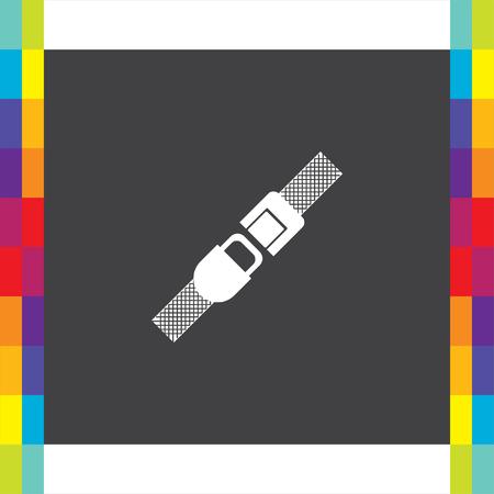 Seat belt vector icon. Safety car device sign. Fasten airplane belt symbol Illustration