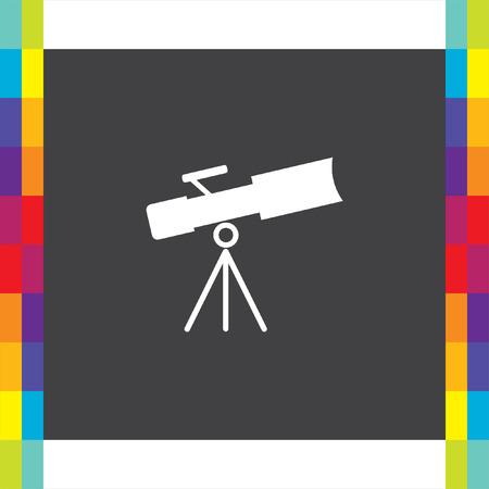Telescope vector icon. Astronomy optical instrument sign. Spyglass symbol