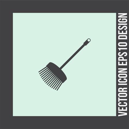 broom handle: Broom vector icon. Household floor cleaner symbol. Home hygiene sign.