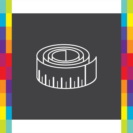 cintas metricas: Mida icono del vector de la cinta. La medición de señal de dispositivo. símbolo de medición de la construcción