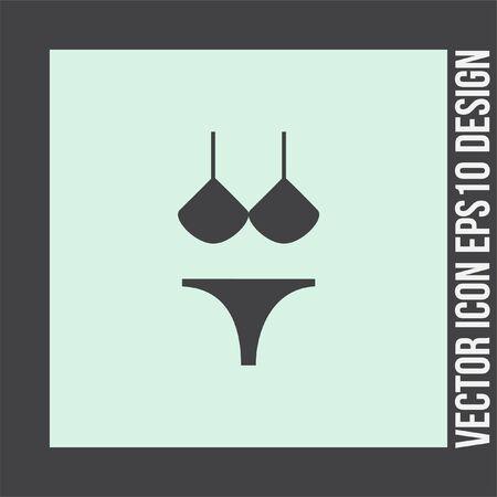 Bikini vector icon. Women beach clothes sign. Summer vacation symbol. Illustration