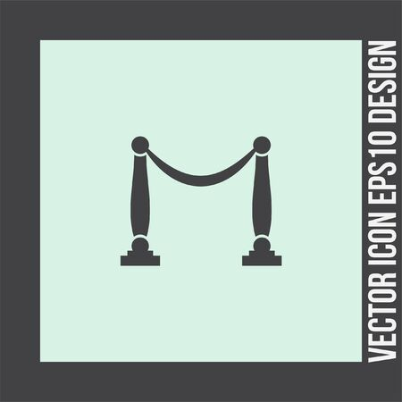 barrier rope: Queue barricade vector icon. Concert entrance sign. Museum rope and pole barrier symbol