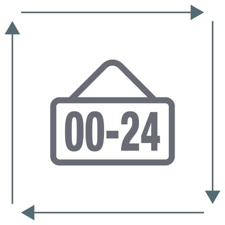 all day: Open 24 hours line vector icon. Non stop working shop or service symbol. All day working time sign.