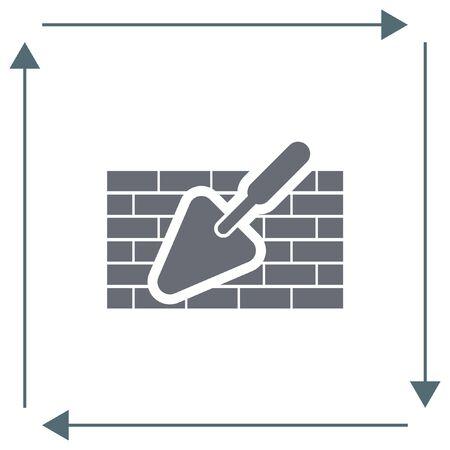 Kelle mit Mauer Vektor-Symbol. Aufbaumaurer-Ausrüstung. Verputzen Spachtel Symbol