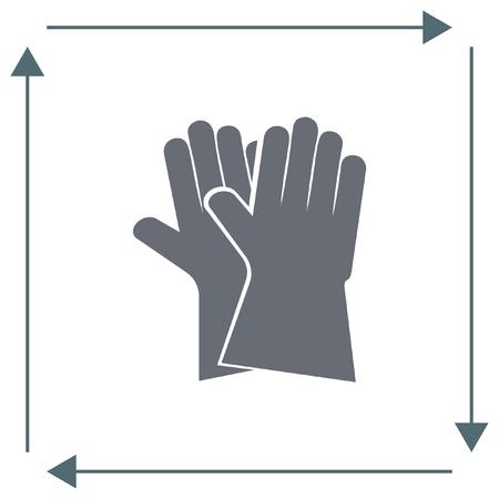 latex glove: Garden gloves vector icon. Backyard equipment sign. Safety tool symbol