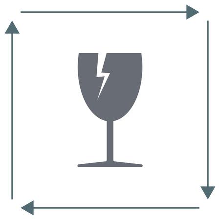 breakable: Fragile transport vector icon. Broken glass sign. Energy drink symbol