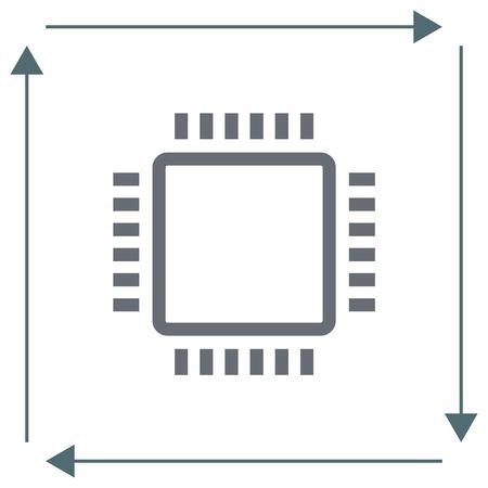 micro chip: Processor sign line vector icon. PC CPU symbol. Computer chip sign icon.