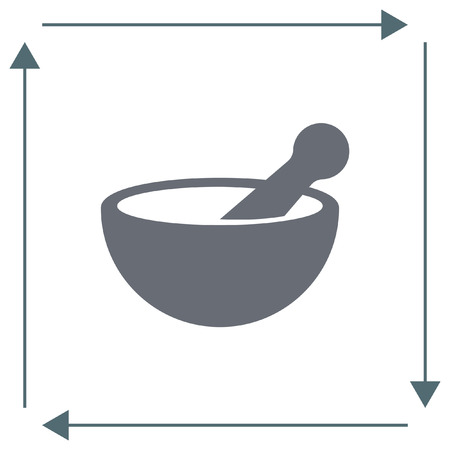 rx: Mortar and pestle pharmacy vector icon. Pharmacy tool sign. Medical equipment symbol