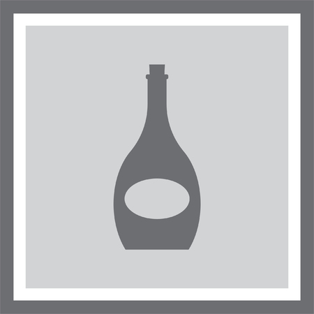 alcoholic beverage: Wine bottle vector icon. Alcoholic beverage symbol. Wineglass sign