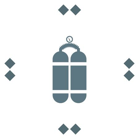 compressed air: Oxygen cylinder vector icon. Diving equipment symbol