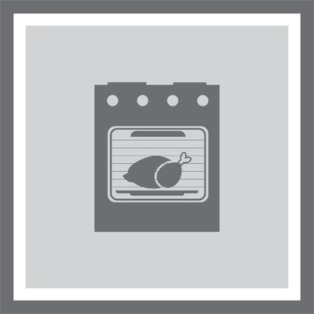 kitchen stove: Oven vector icon. Kitchen stove sign. Roasting turkey symbol Illustration