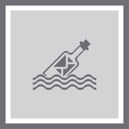 message in a bottle: Message in a bottle vector icon. Letter in a glass sign