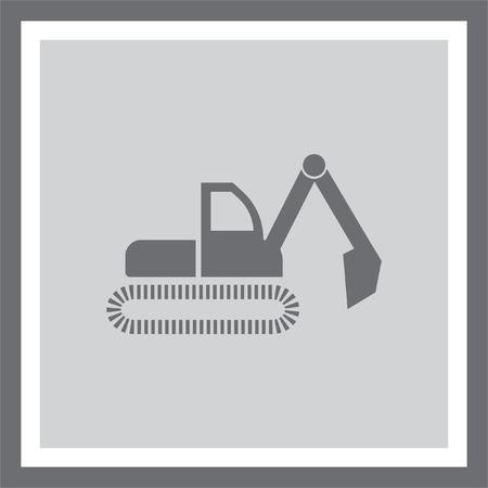 excavating: Dredge symbol vector icon. Bagger sign. Construction vehicle symbol