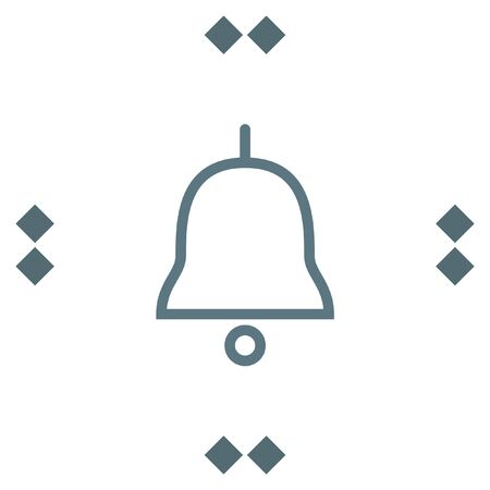 hand bell: Bell sign line vector icon. Sound sign. Alarm hand bell symbol.