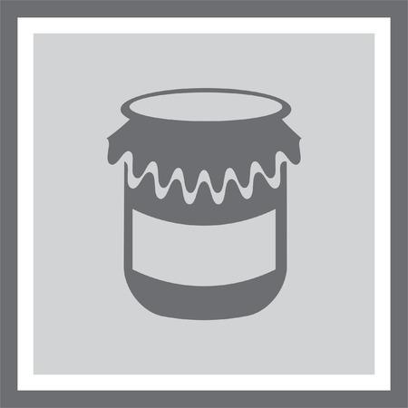 homemade: Jam jar vector icon. Honey container sign. Homemade treat symbol.