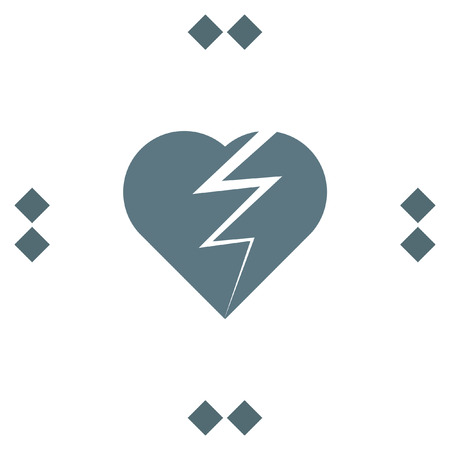 broken love: Broken heart vector icon. Divorce symbol. End of love sign. Illustration