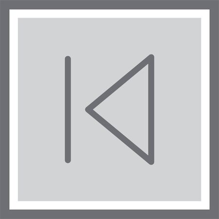 skip: Skip backward button sign vector icon. Music UI control symbol. Media pictograph