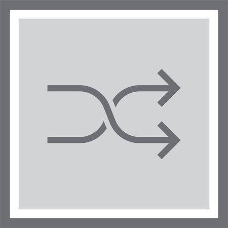 shuffle: Shuffle button sign line vector icon. UI control Shuffle button. Mixed arrows sign. Randomize symbol.