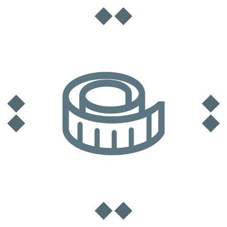 cintas metricas: Measure tape vector icon. Measuring device sign. Construction measurement symbol Vectores