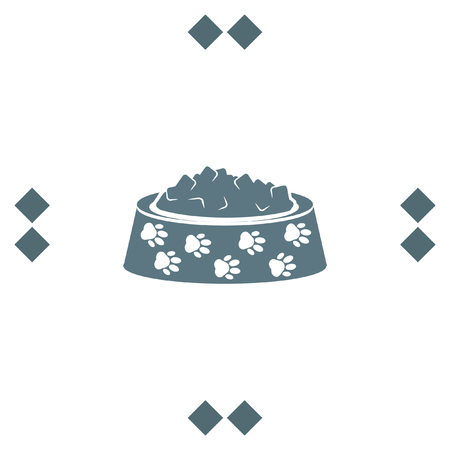 Pet food vector icon. Dog bowl with meal sign. Animal feed and nutrition symbol Illustration