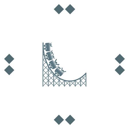 coaster: Roller coaster vector icon. Amusement park sign. Speed ride symbol Illustration