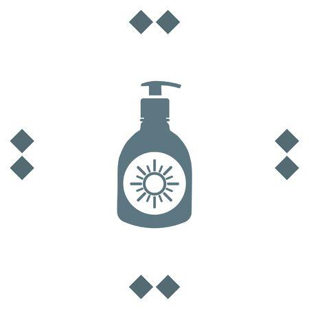 sun block: Sun lotion vector icon. Skin protection sign. Sunscreen and sunblock symbol Illustration